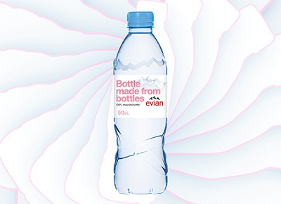 Evian Adds 100% Recycled Water Bottles to Portfolio