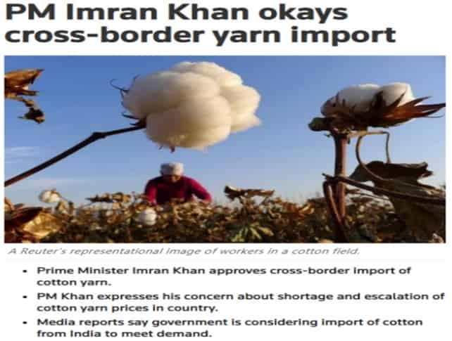 Impacts of re-opening of trades between Pakistan and India on Indian cotton yarn