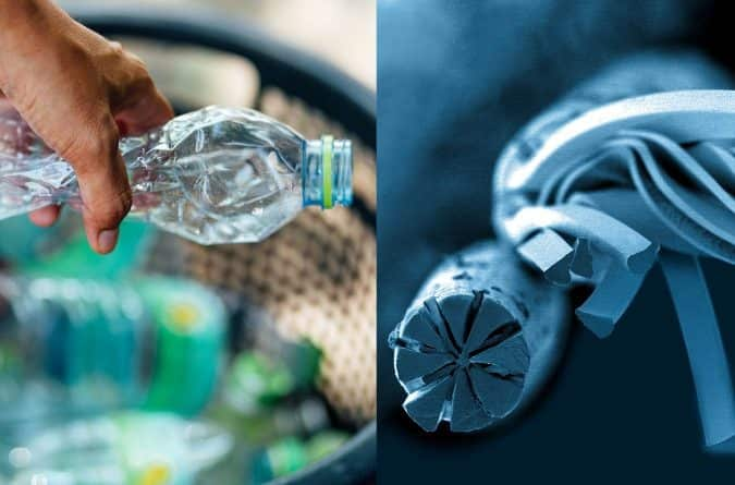 Microfilament textiles made from post-consumer recycled PET